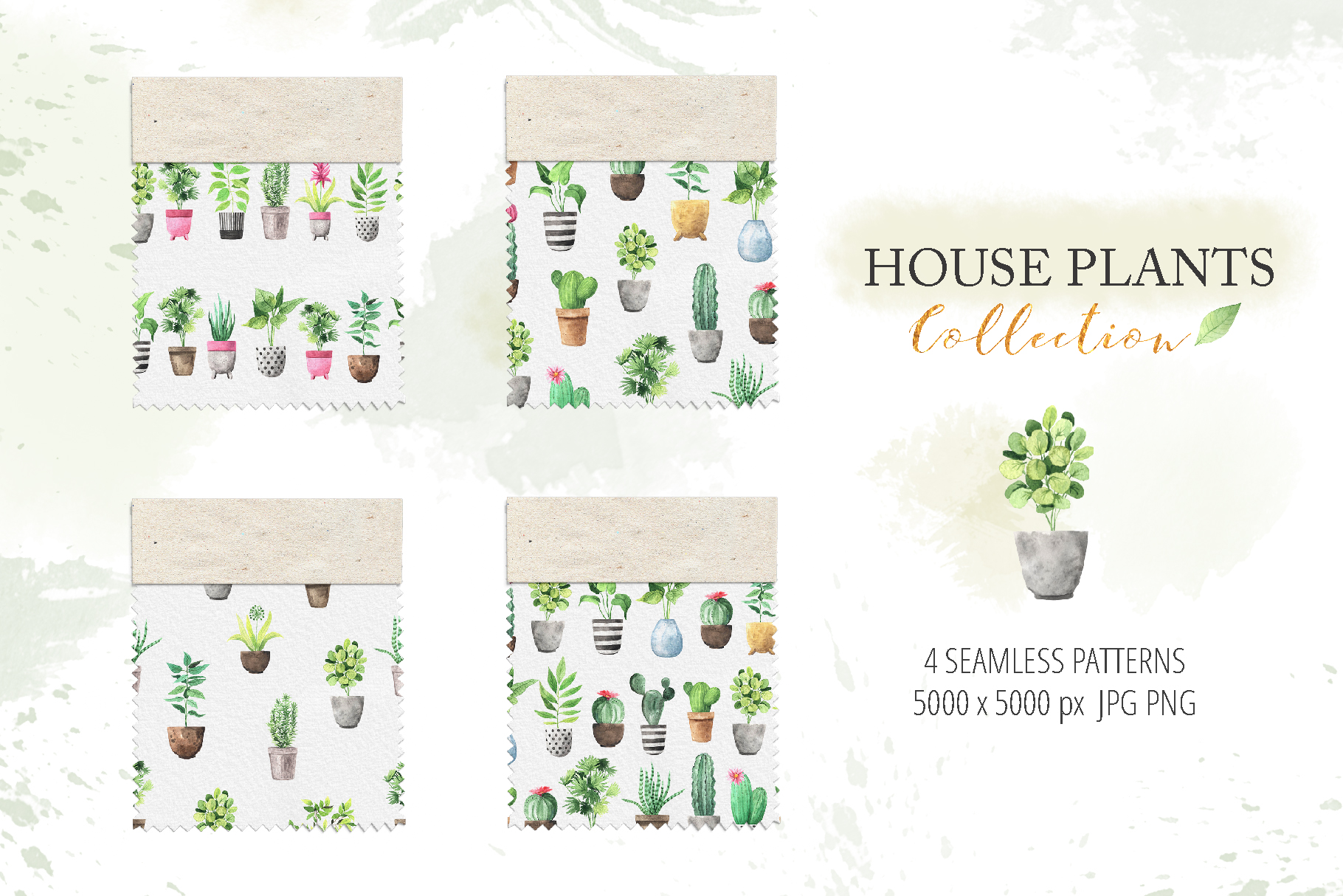 Watercolor House Plants Collection example image 5