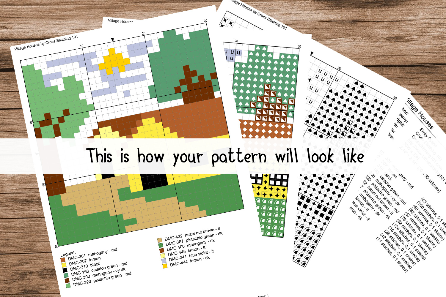 Village Scene Cross Stitch Pattern - Instant Download PDF example image 2