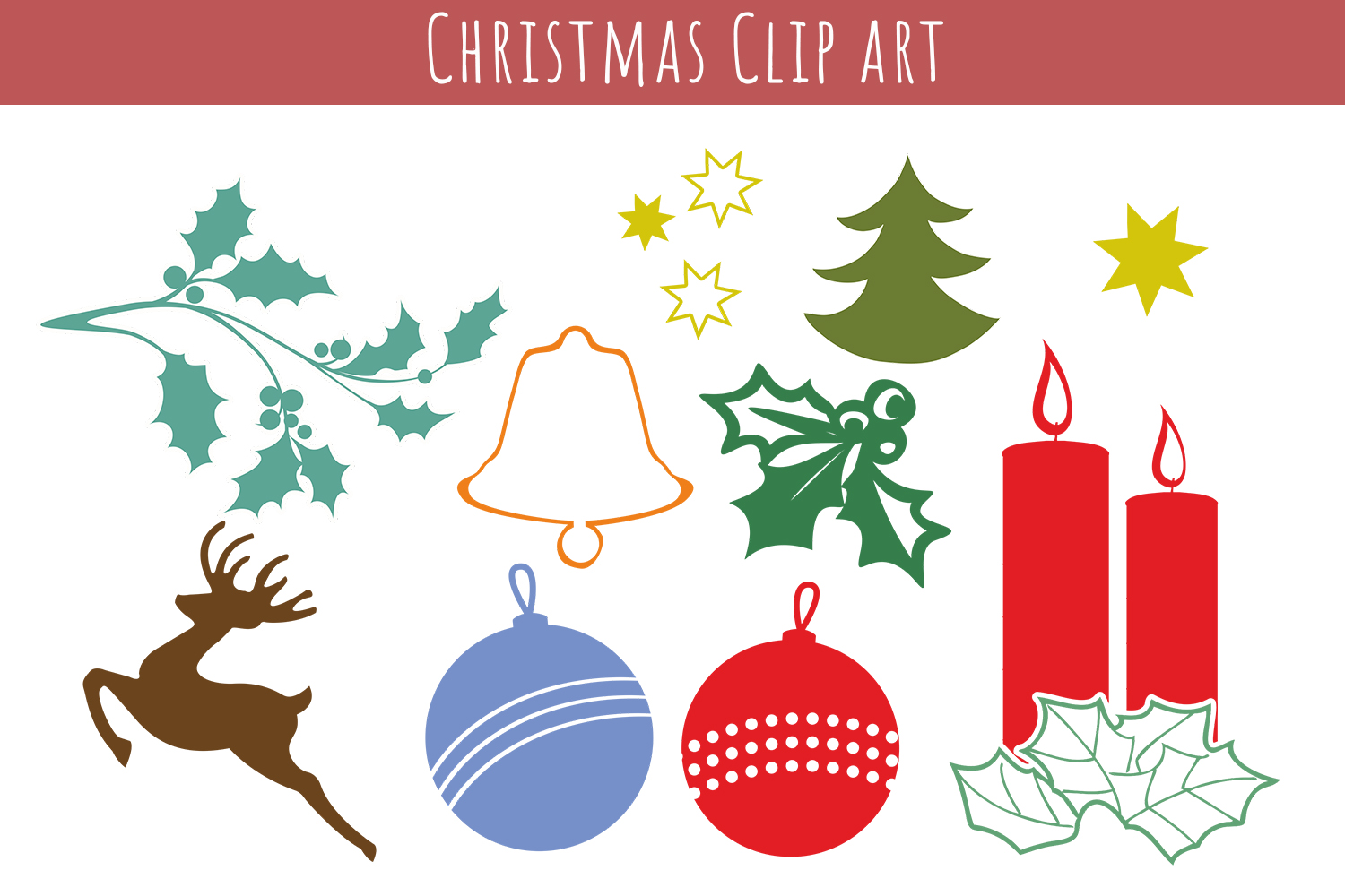 Christmas Clip art -  cutting files, Xmas Vector,  SVG, PNG, JPG, EPS, AI, DXF example image 1