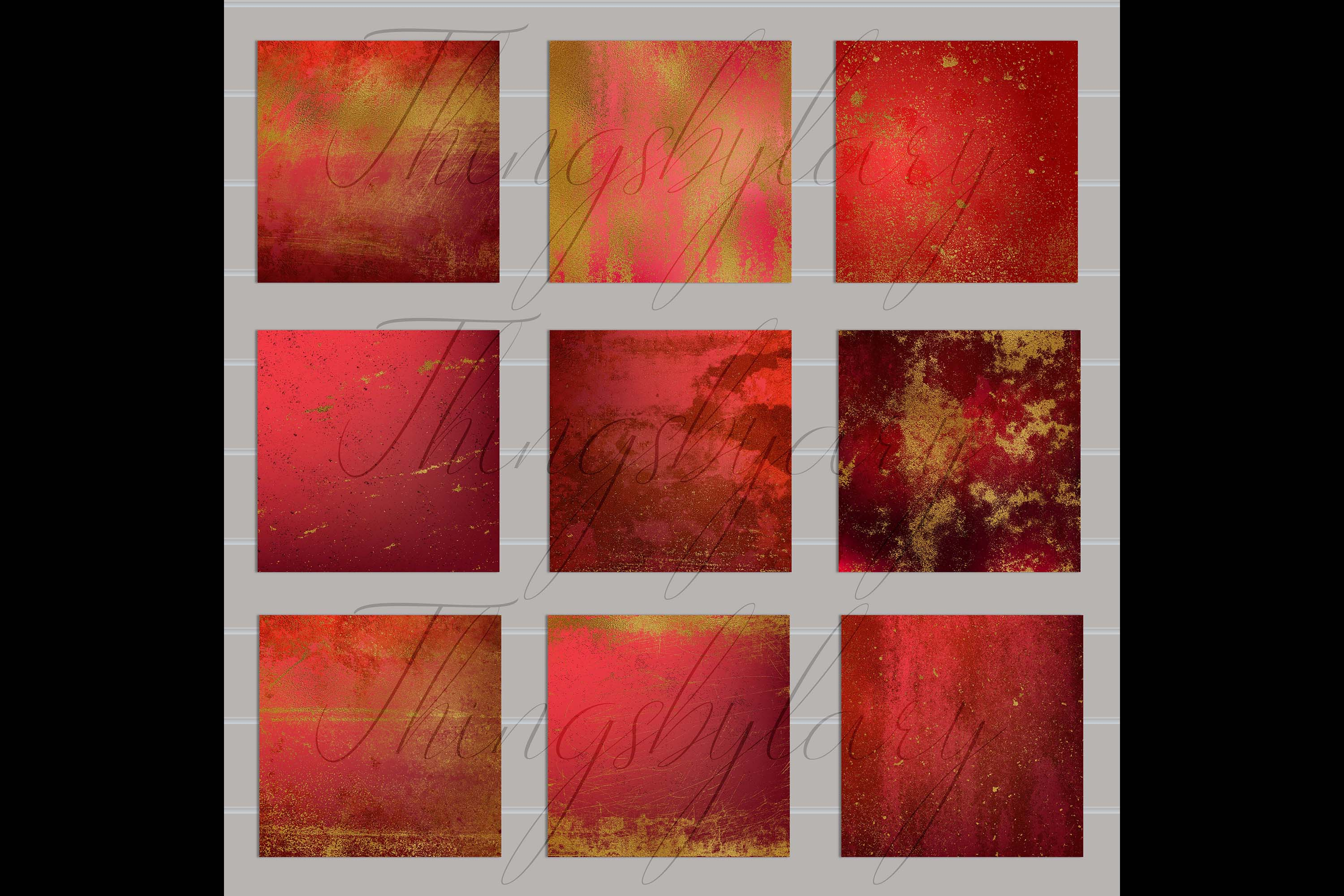 16 Distressed Red and Gold Artistic Painted Digital Papers example image 9