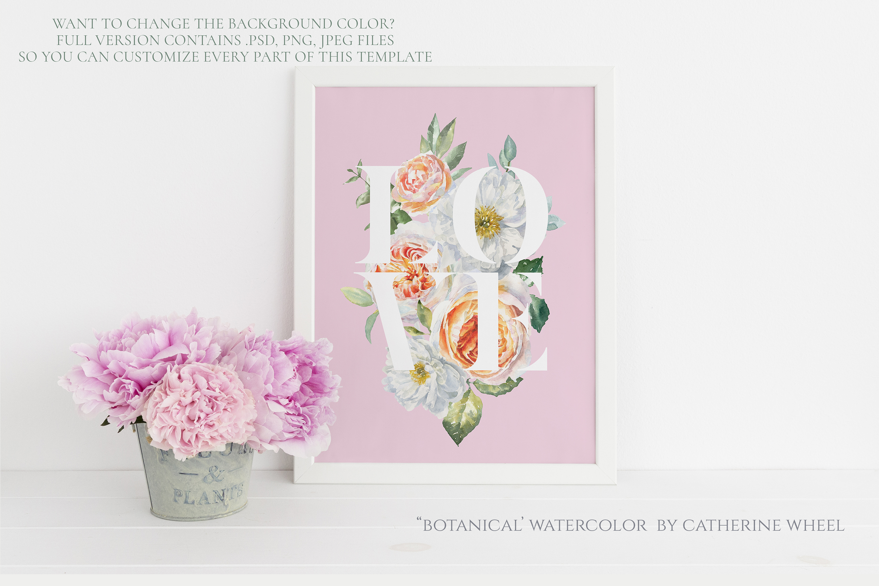 FREEBIE Floral Typography Free Botanical graphics example image 5