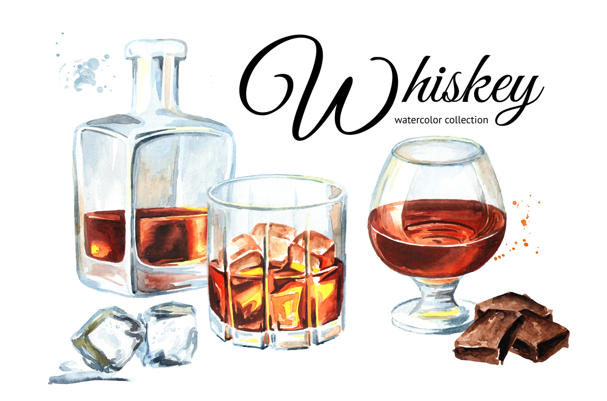 Whiskey.Watercolor collection example image 1
