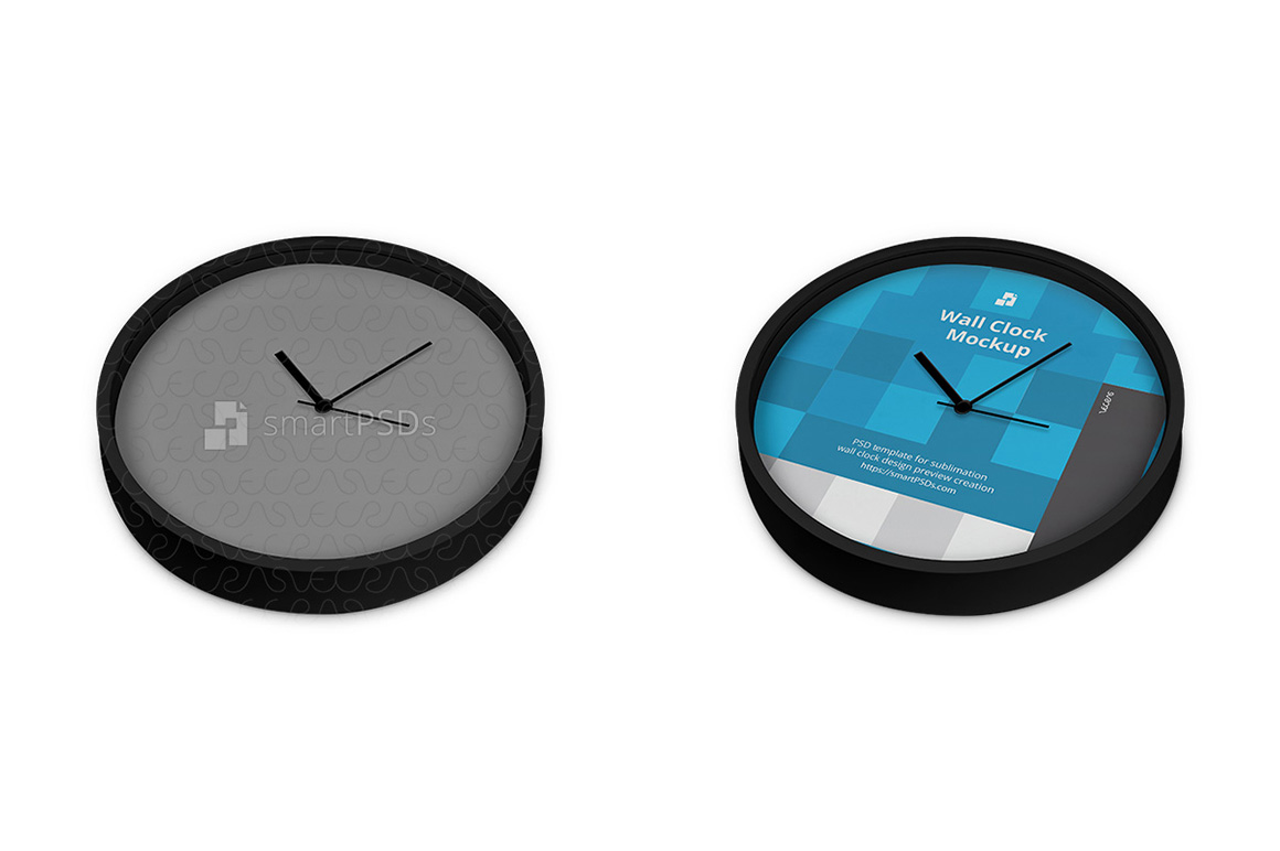 Round Wall Clock Design Mockup - 3 Views example image 3