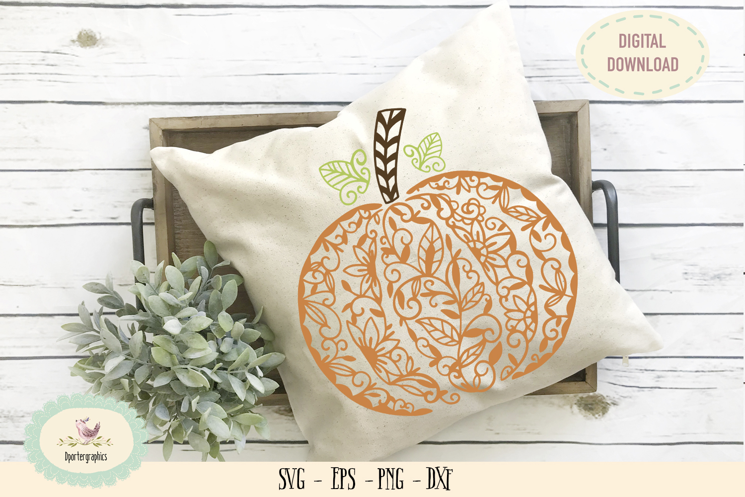 Pumpkin mandala SVG PNG Harvest fall design example image 1
