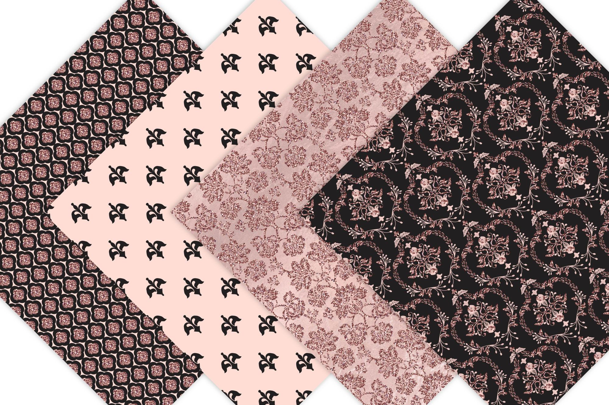 Black and Rose Gold Digital Paper example image 3