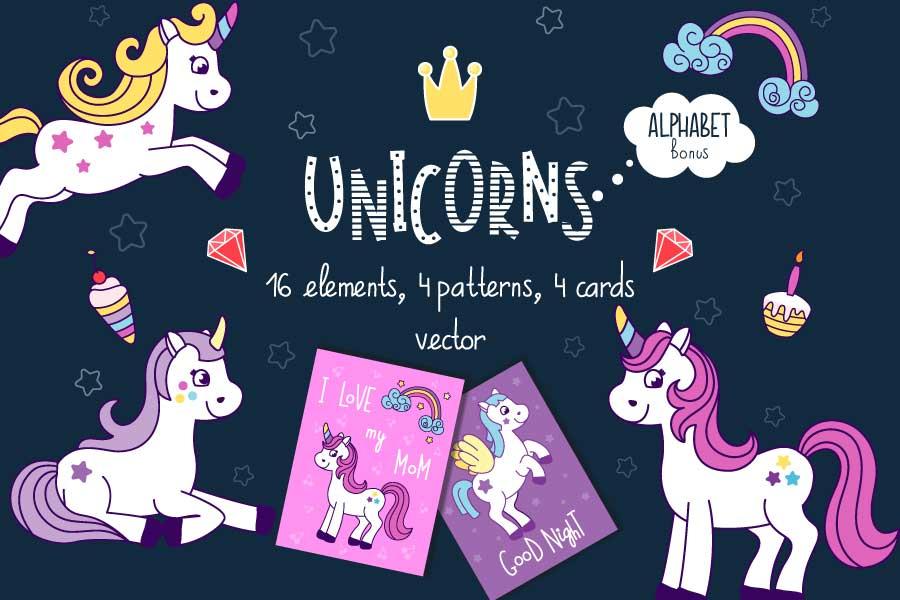 Unicorns vector set and alphabet bonus example image 1