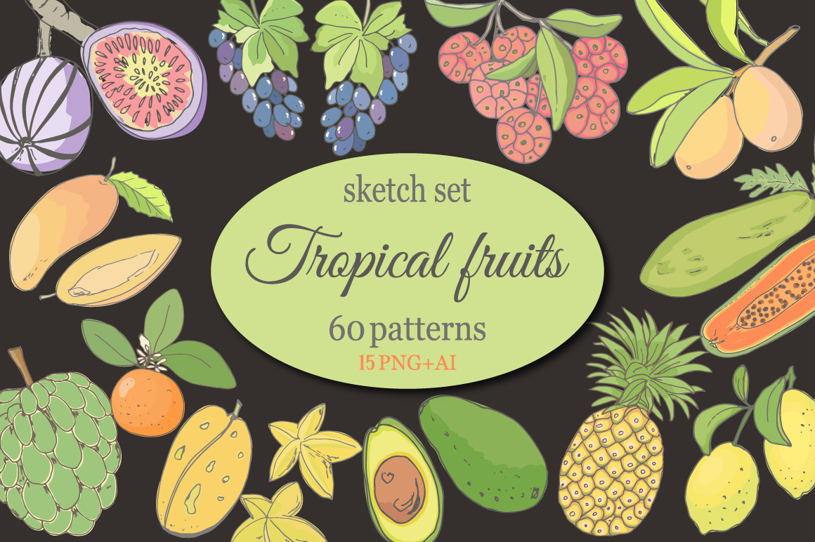 Sketch of tropical fruits. example image 1