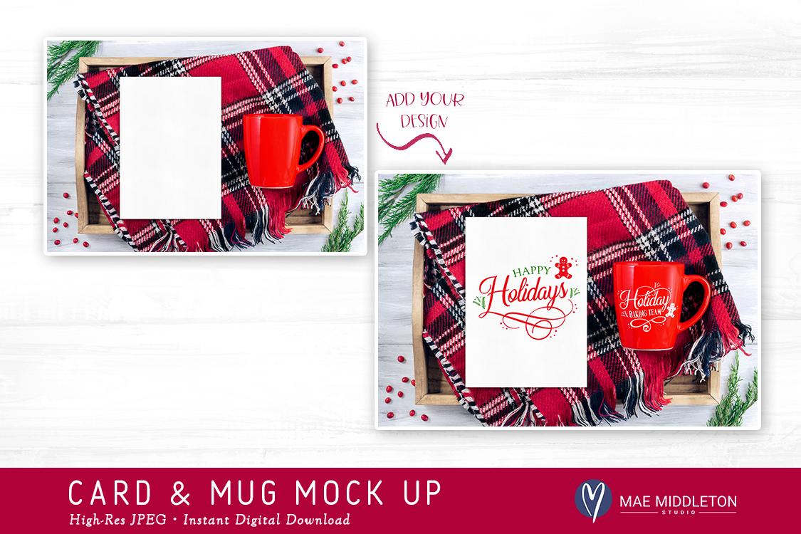 Card, red mug mock up for Christmas example image 2