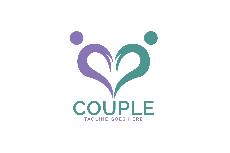 Heart Couple logo design. example image 1
