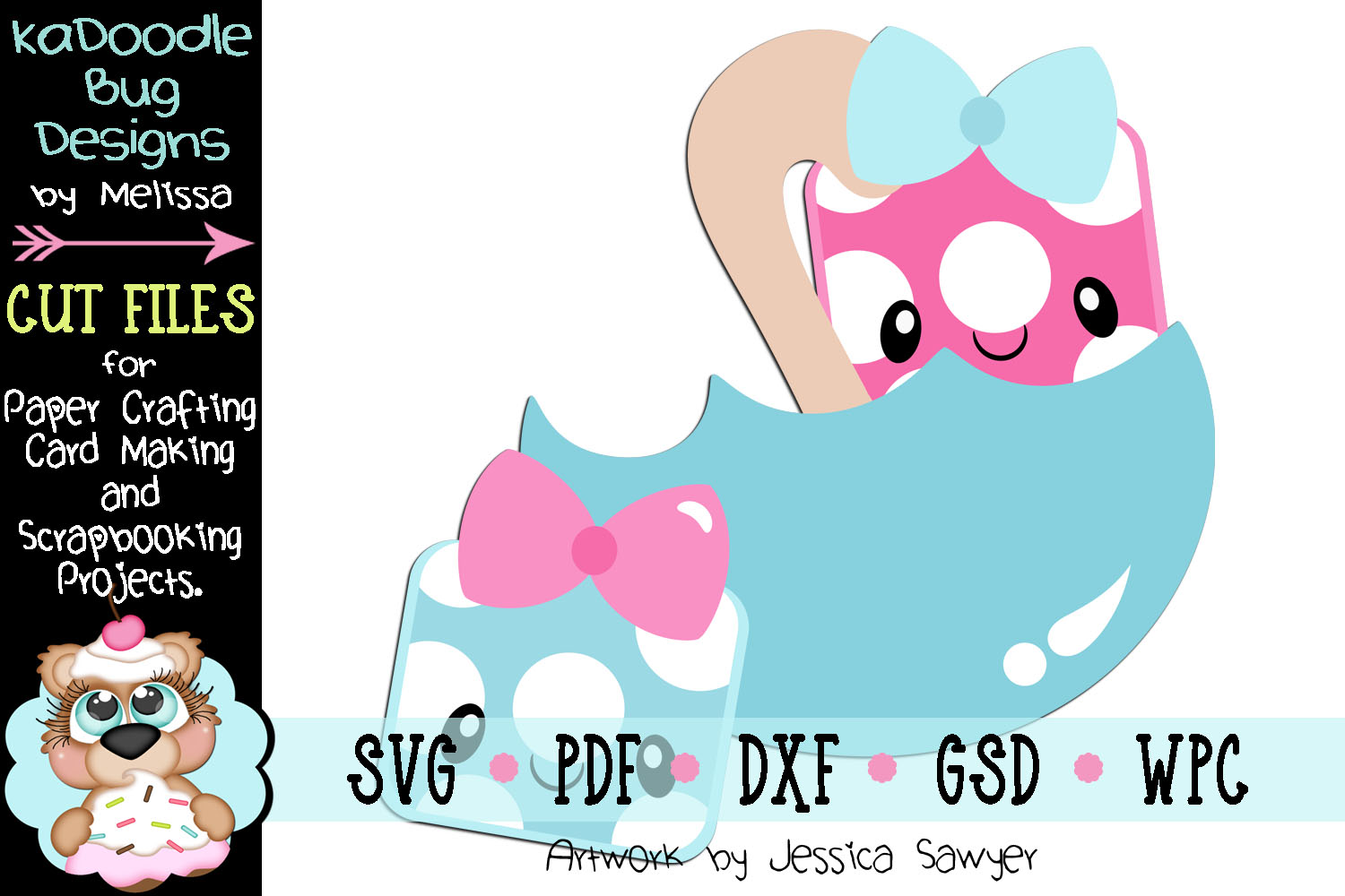 Kawaii Baby Shower Gifts Cut File - SVG PDF DXF GSD WPC example image 1