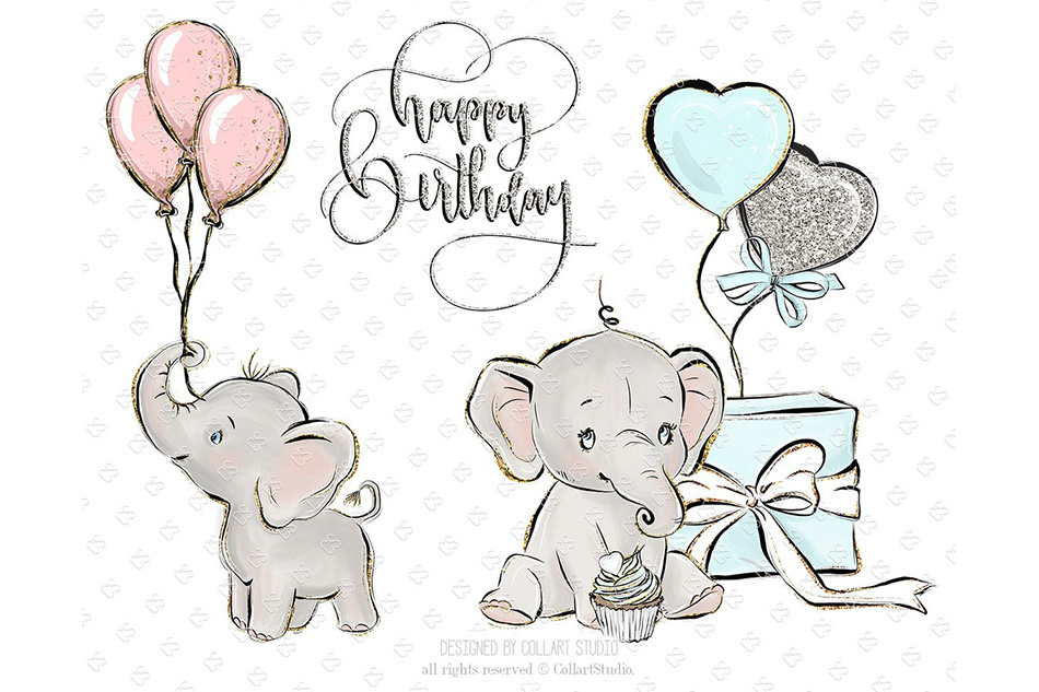 Baby Elephant clipart, Baby boy baby girl clipart, birthday example image 2