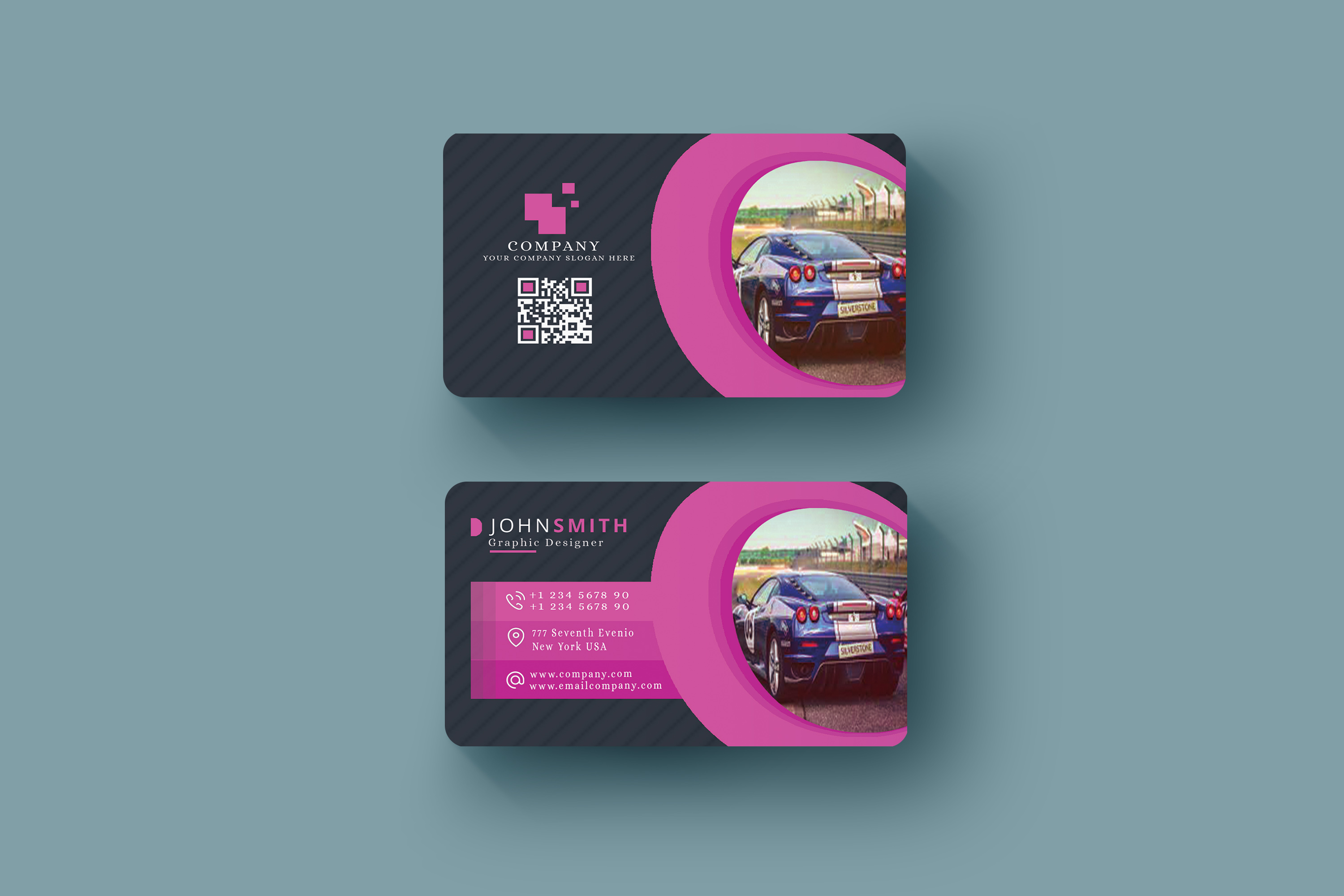 Abstract Business Card in Multicolor Design Template  example image 1