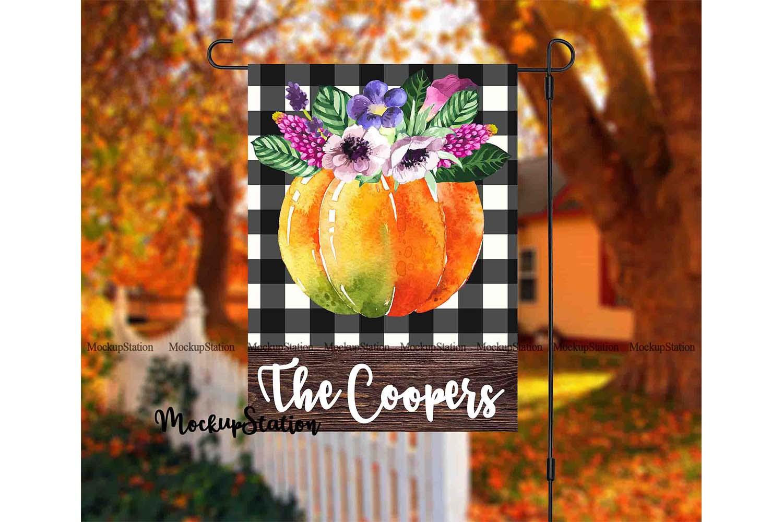 Fall Garden Flag Mockup PSD File, Autumn Flag Mock Up example image 3