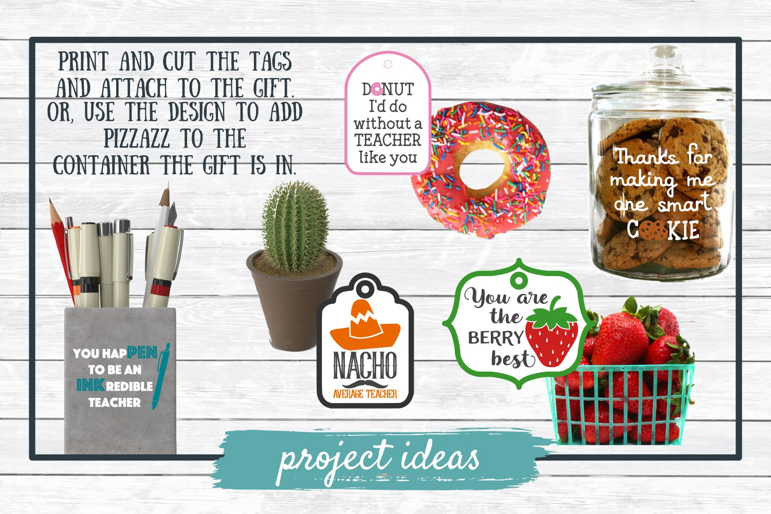 Teacher Appreciation Gift Tags-Print and Cut, SVG Cut Files example image 2