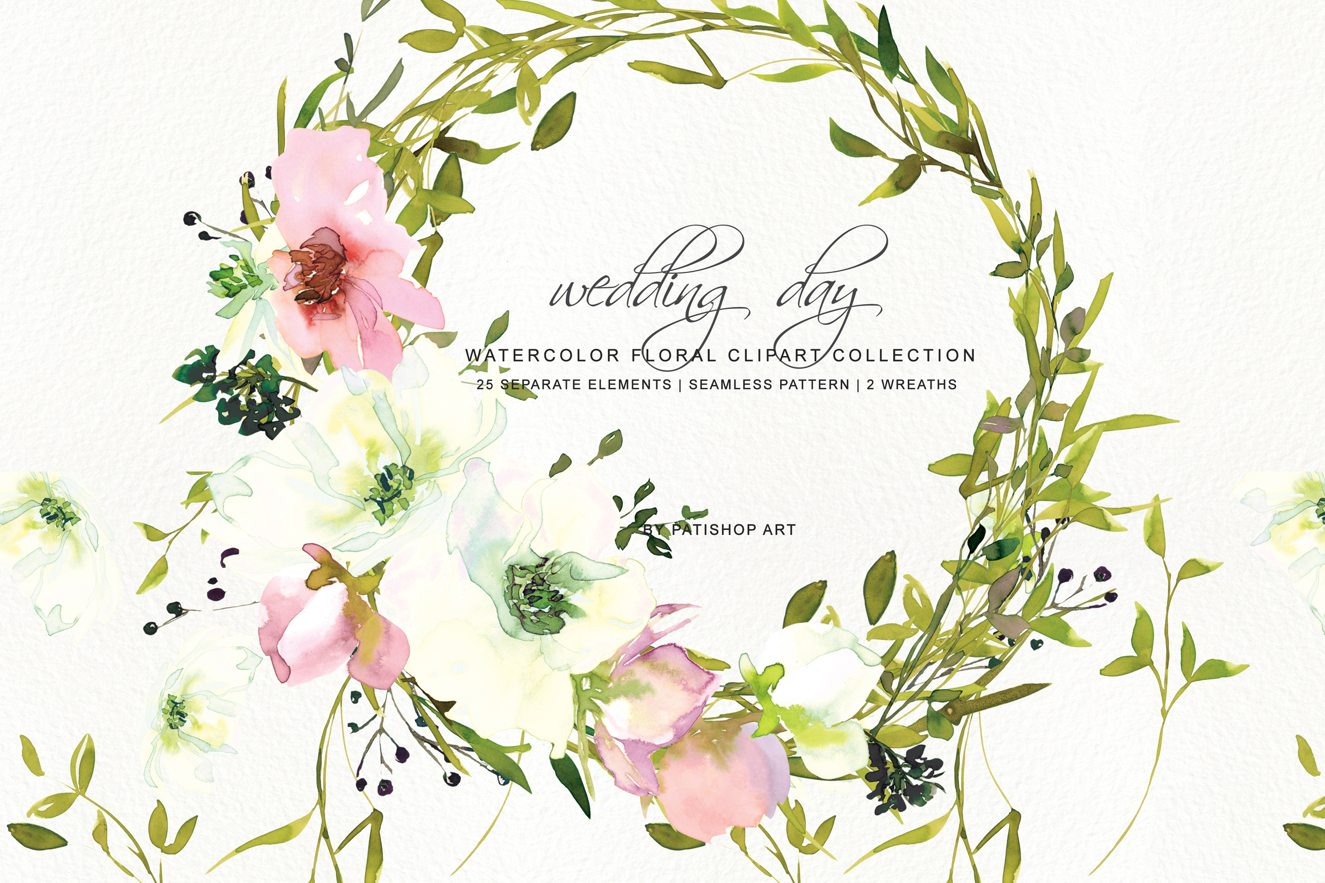 Watercolor Blush and WhiteRose Clipart and Wreaths example image 1