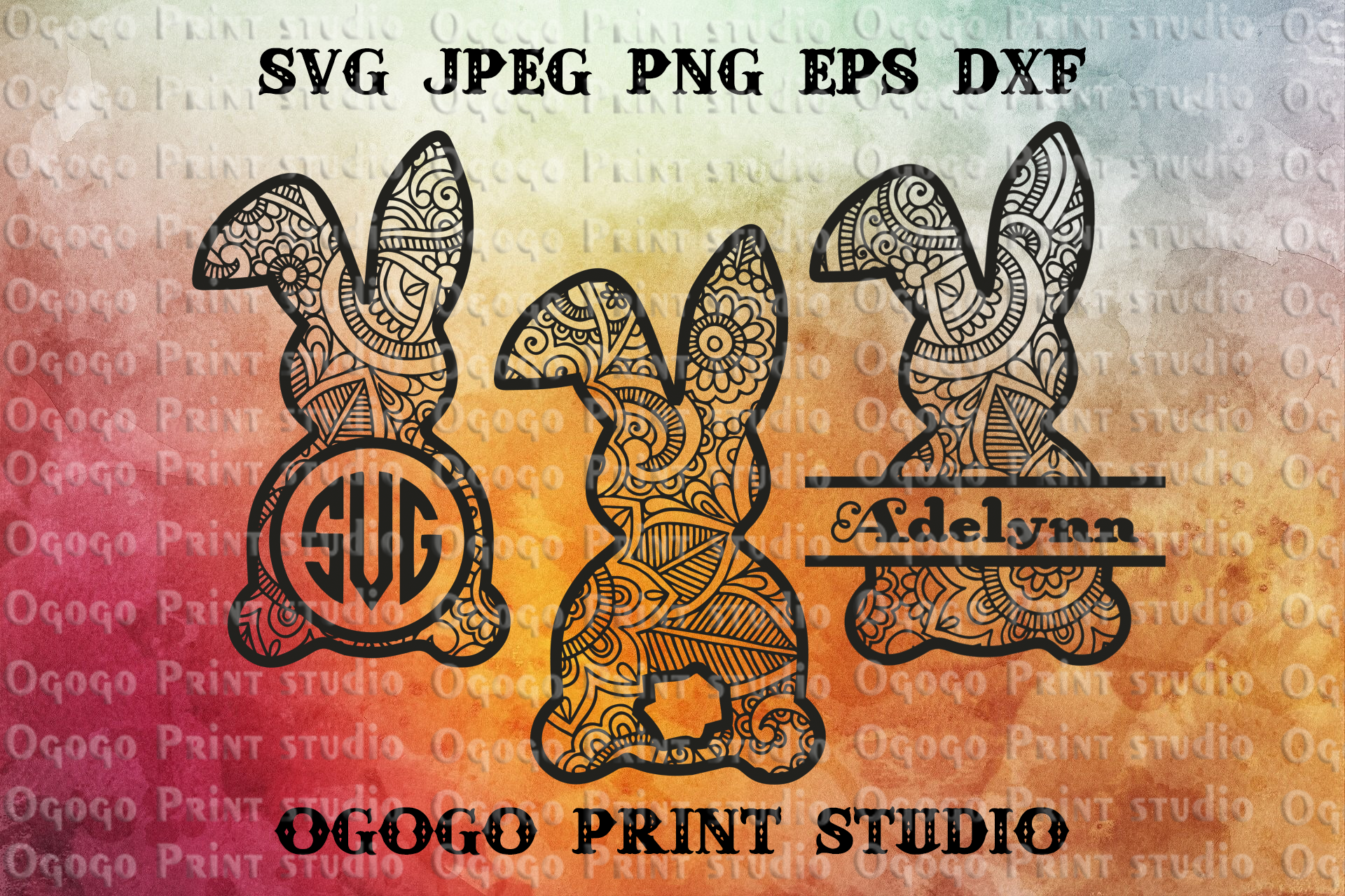 Bunny svg, Zentangle SVG, Easter Mandala svg, Cricut files example image 1