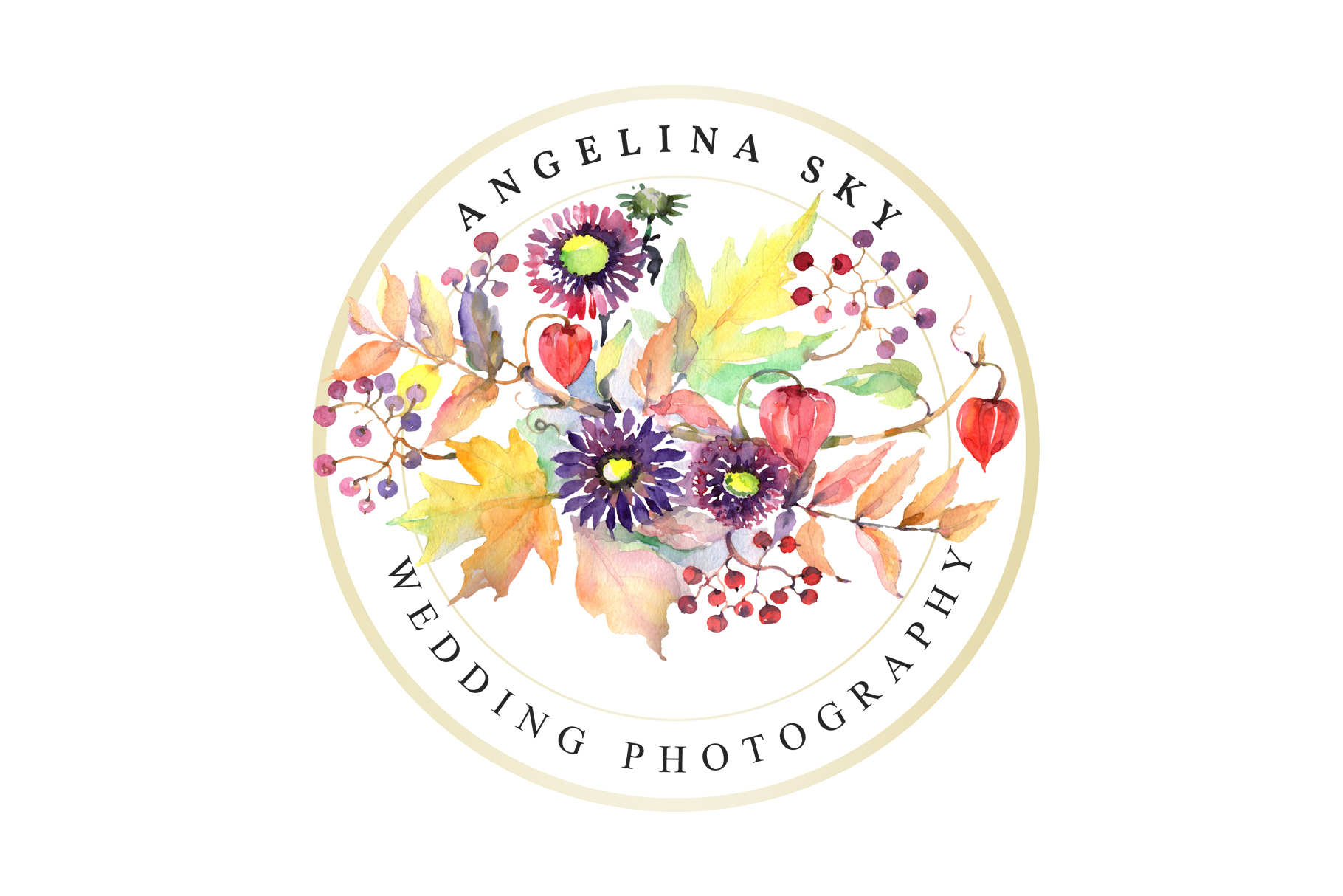 LOGO with asters, maple leaves and physalis Watercolor png example image 5