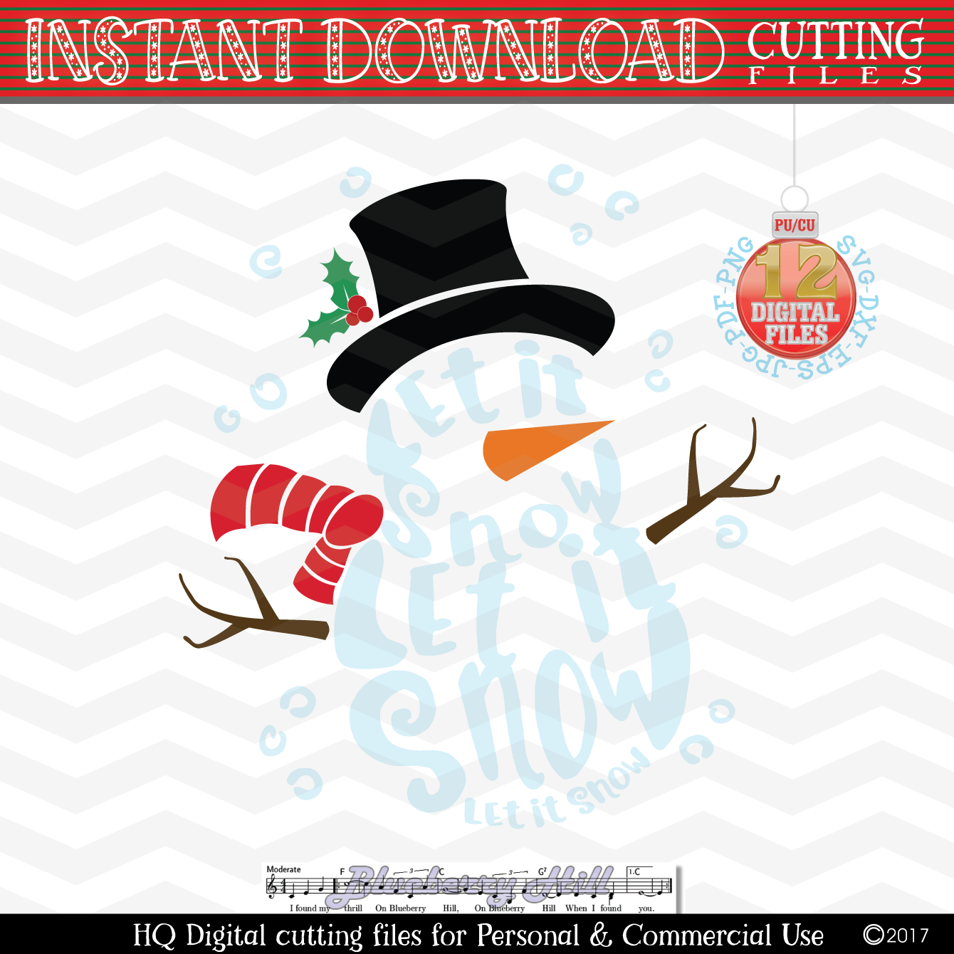 Snowman Svg - Let it snow Svg -2 in 1- Christmas SVG - Snow example image 2