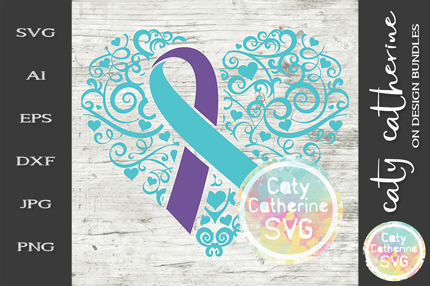 Suicide Ribbon Love Heart Awareness SVG Cut File example image 1