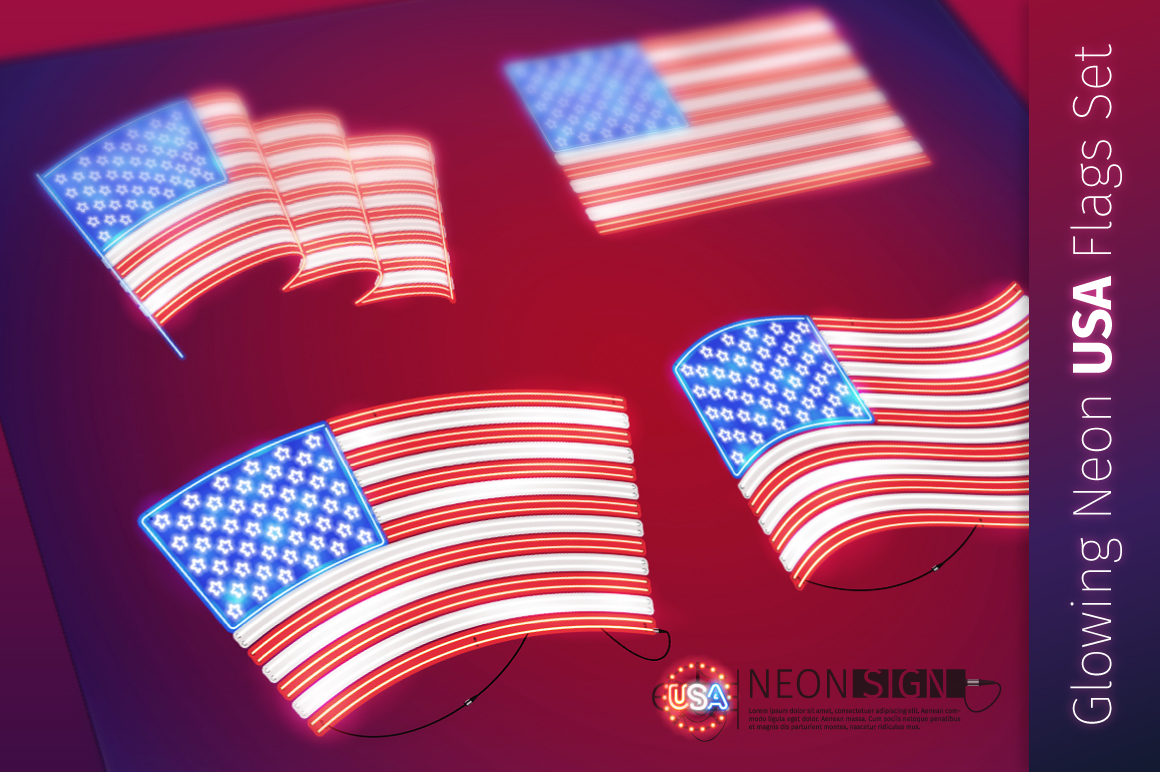Glowing Neon USA Flags Set example image 1