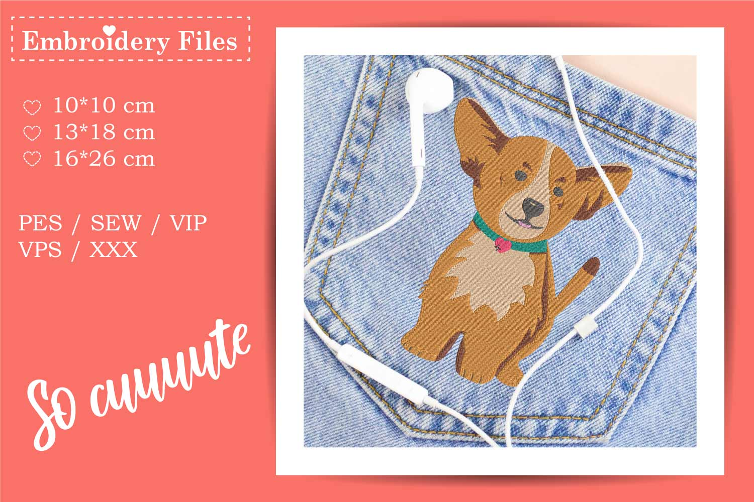 Cute little Dog - Embroidery File for Beginners example image 2