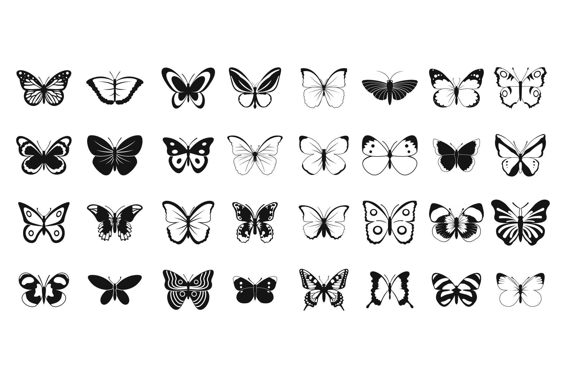 Butterfly icon set, simple style example image 1