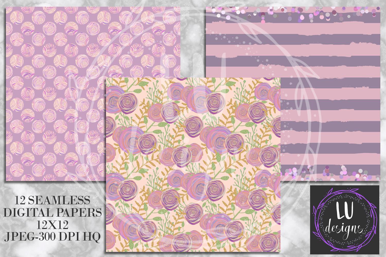 Floral Glitter Digital Paper Pack, Purple Floral Wedding Backgrounds example image 2