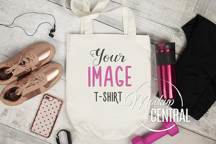 Blank White Fitness Gym Canvas Tote Bag Mockup Top View JPG example image 1