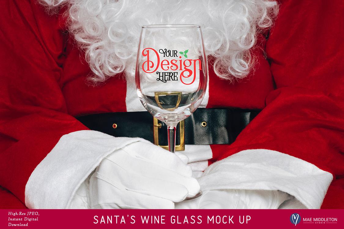 Santa's Wine Glass - Christmas Mock Up example image 1