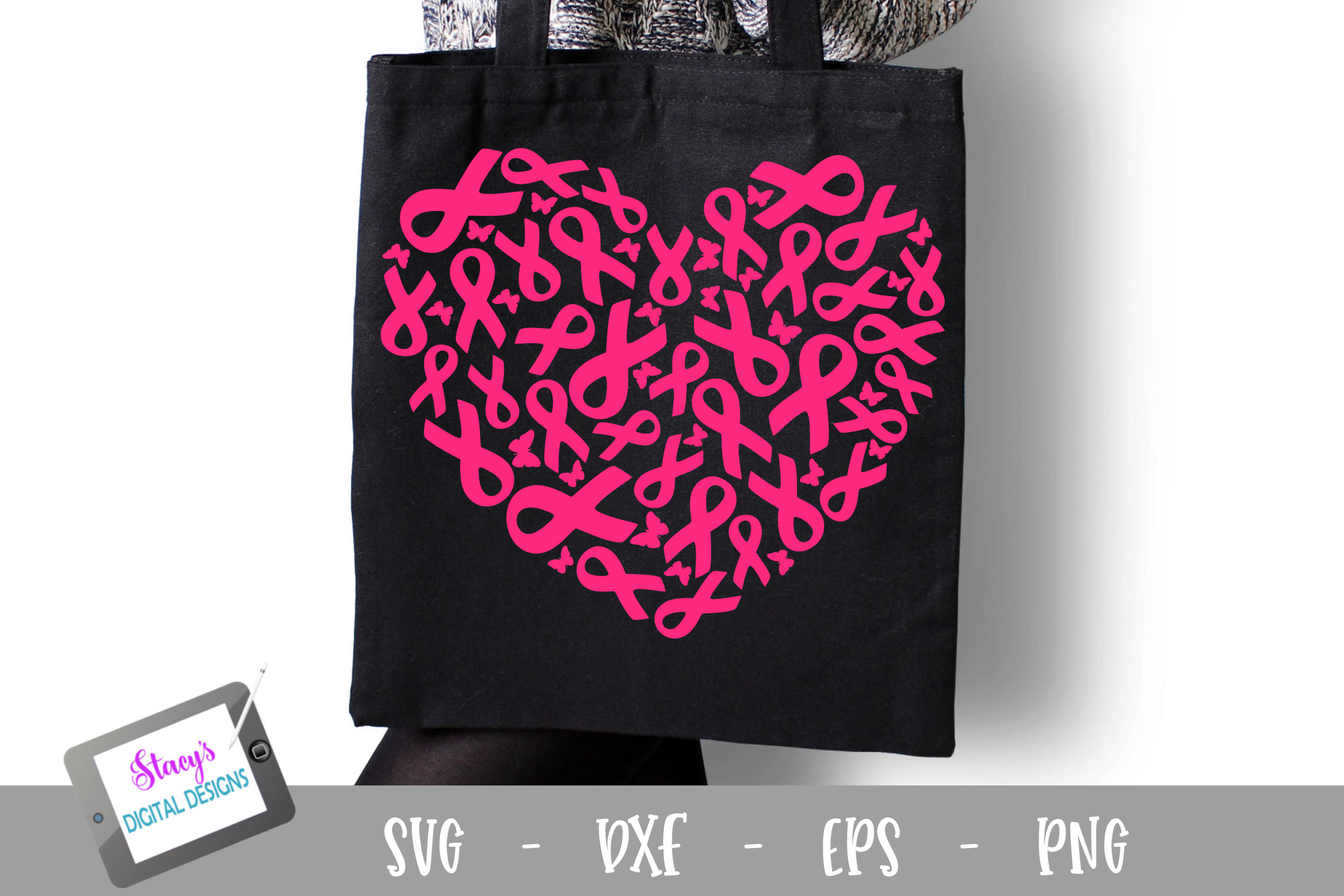 Breast Cancer Awareness SVG - Breast Cancer Ribbons - Heart example image 1