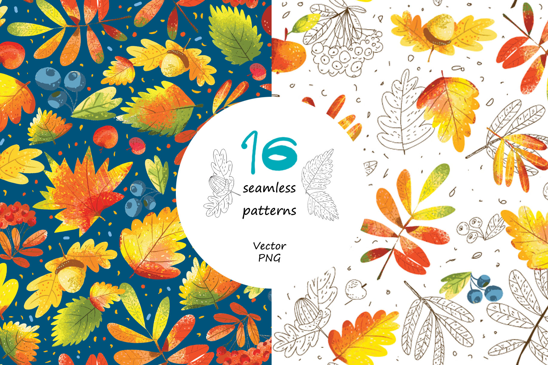 Autumn Leaves - over 30 objects, frames, patterns example image 7
