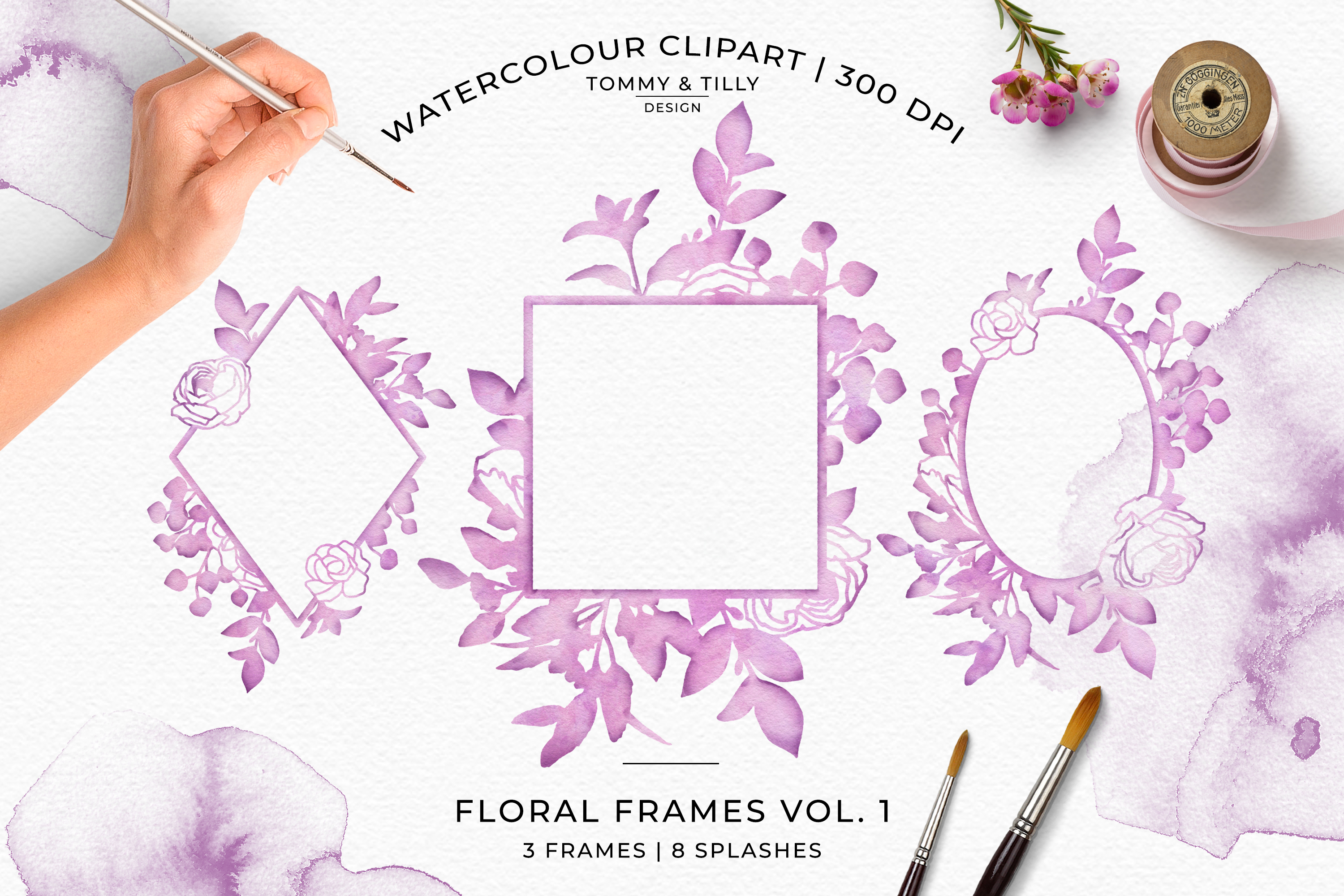 Watercolour Lilac Floral Frames - Wedding Clipart PNG example image 1