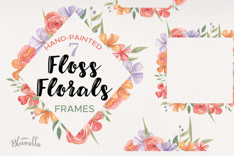 Flowers 7 Frames Florals Watercolor Purple Floss Orange Red example image 1