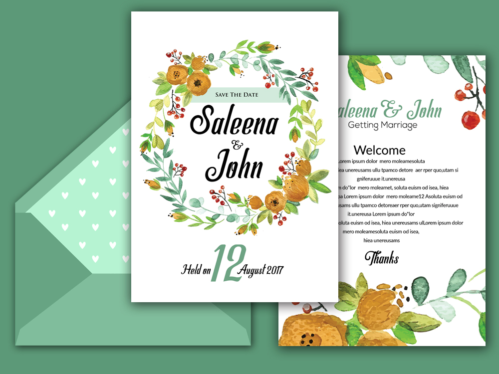 Double Sided Floral Wedding Invitation Card example image 2