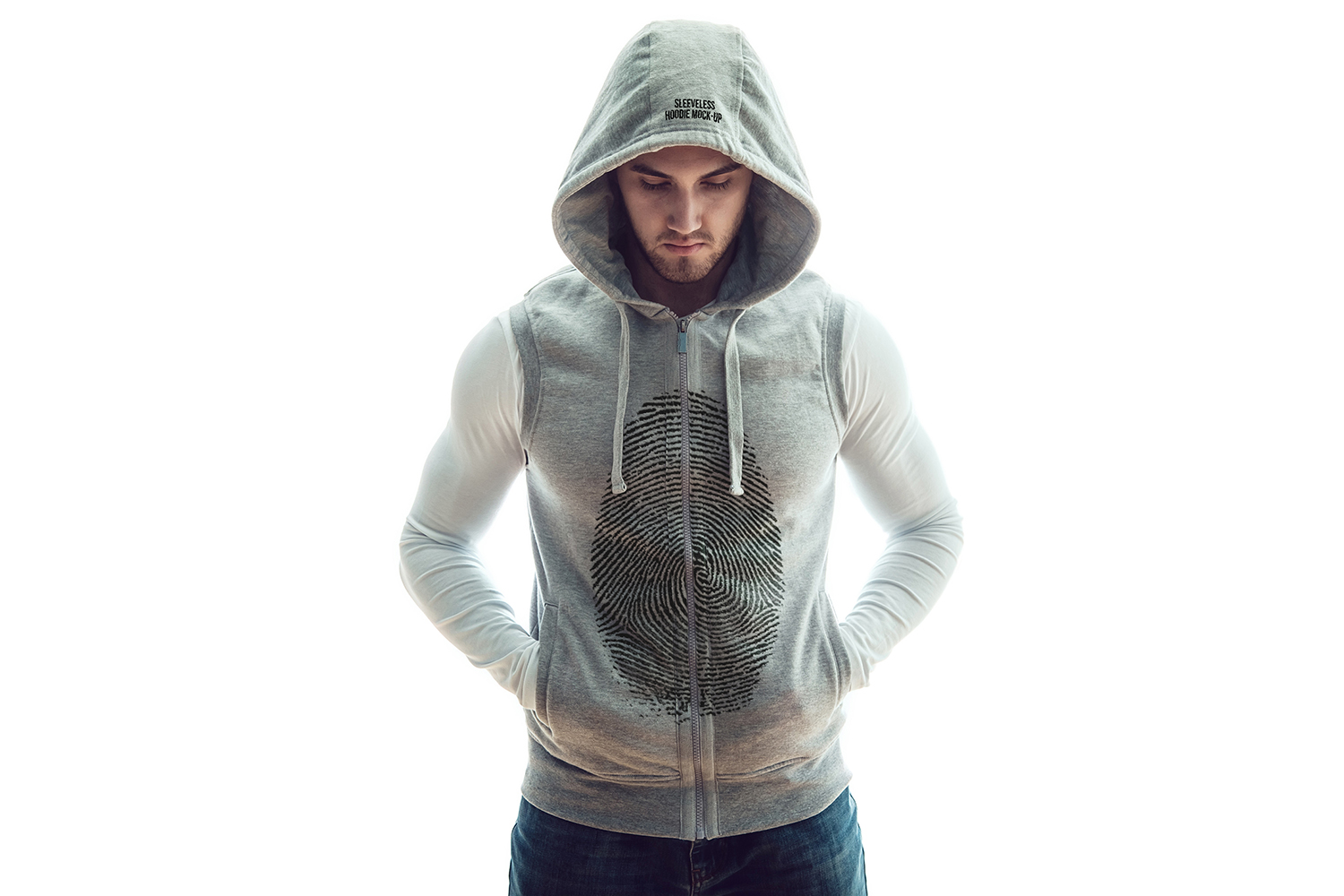 Sleeveless Hoodie Mock-Up example image 4