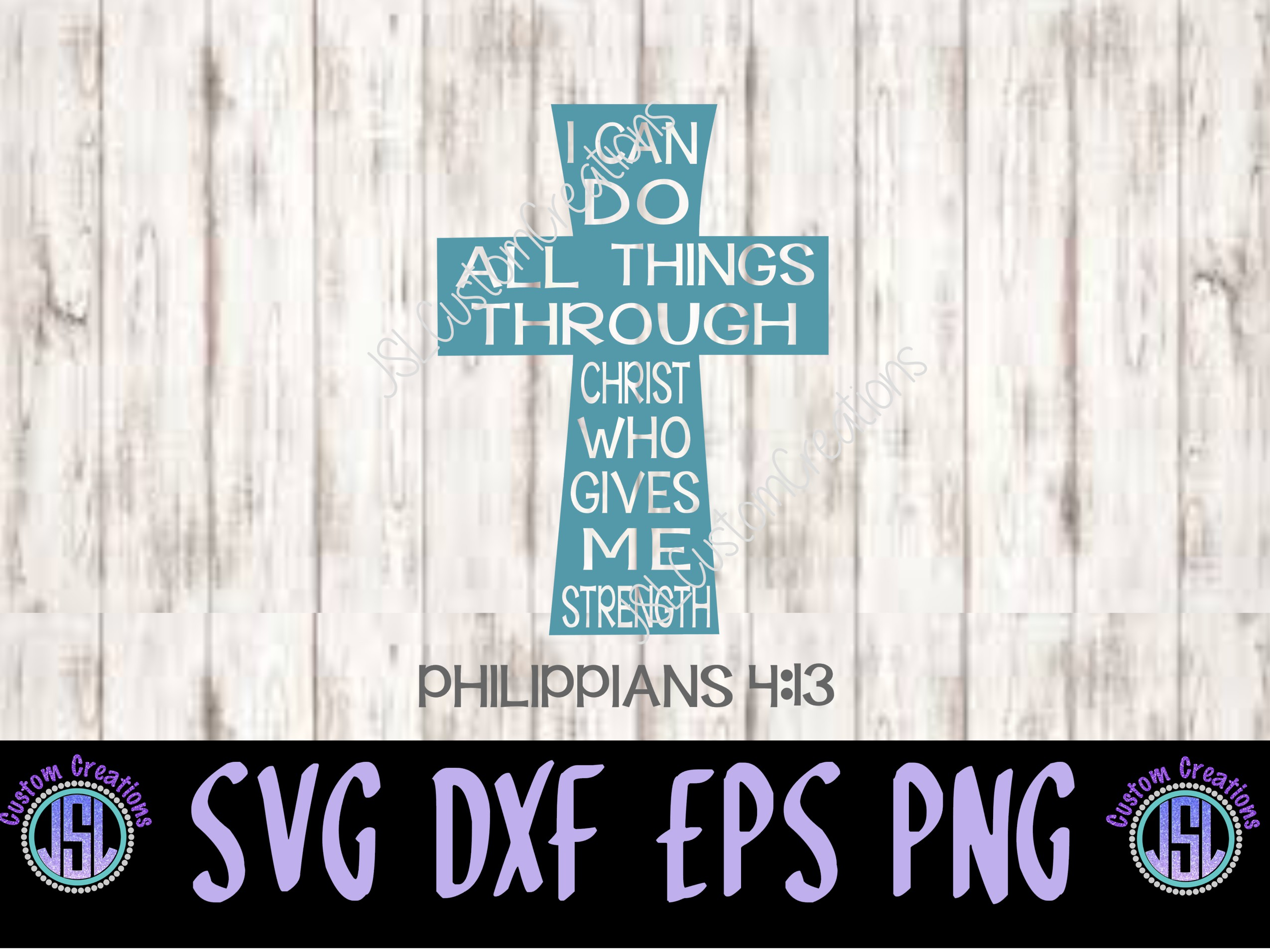 I Can Do All Things SVG, EPS, DXF, PNG Digital Download example image 1