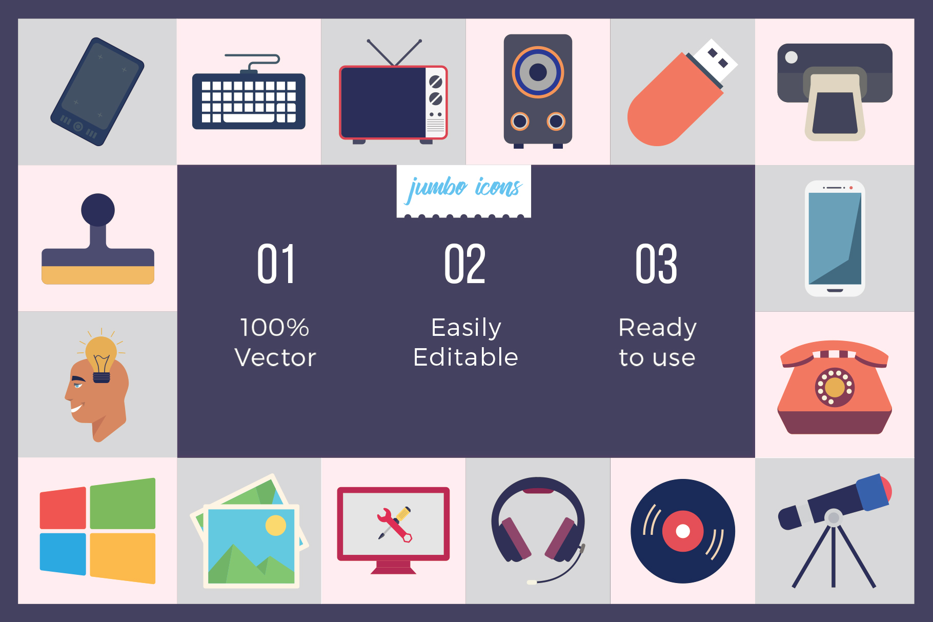 Flat Vector Icons Technology Pack V2 example image 3