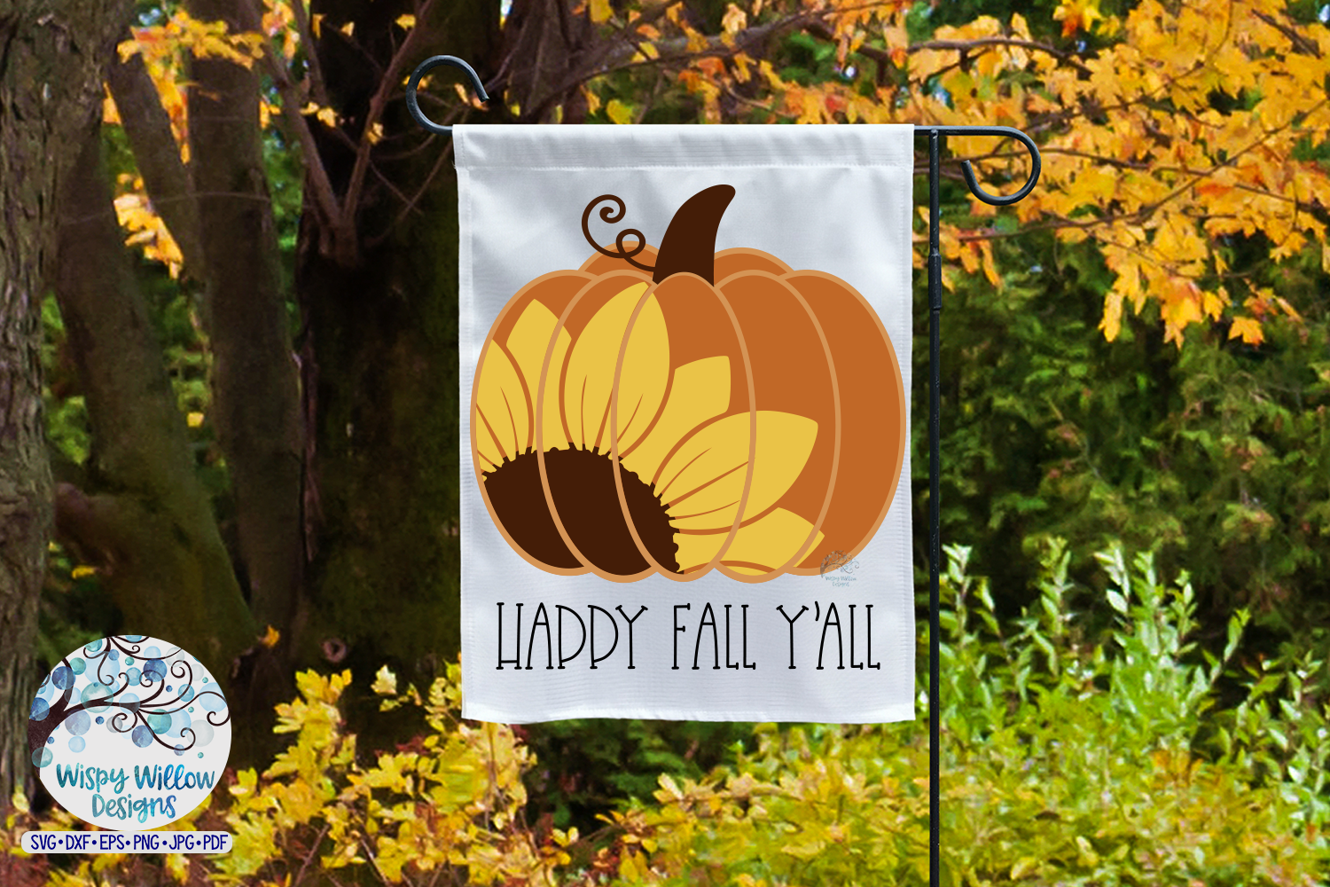 Happy Fall Y'All SVG | Sunflower Pumpkin SVG | Fall SVG example image 2