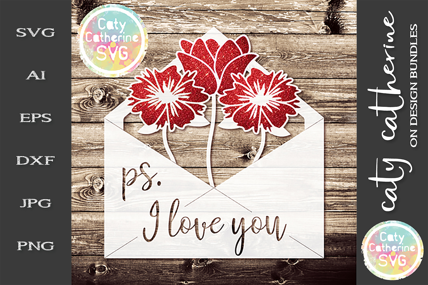P.s. I Love You Envelope With Flowers SVG Cut File example image 1