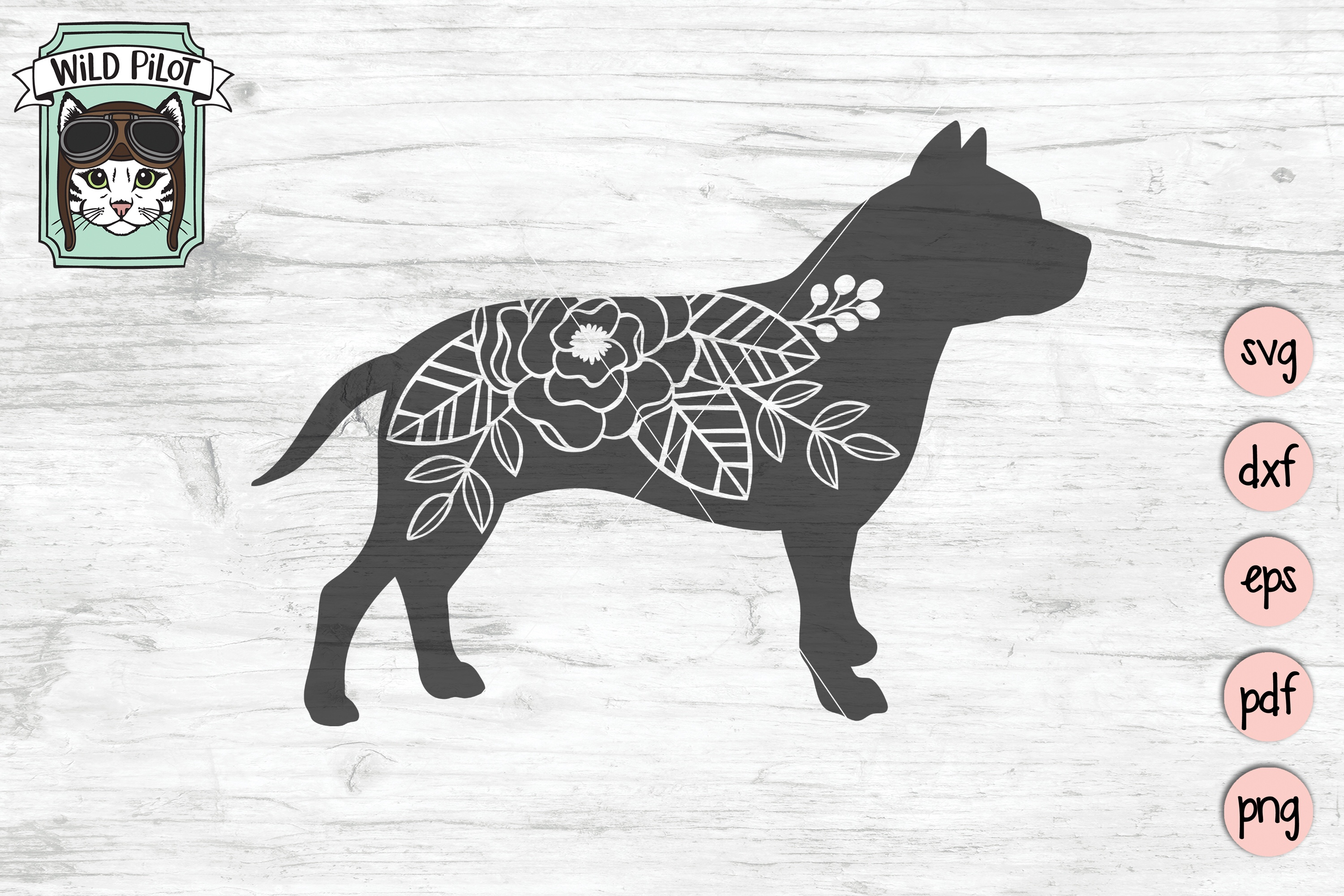 Dog SVG file, Pitbull SVG, Flower Dog Silhouette, Floral Dog example image 3