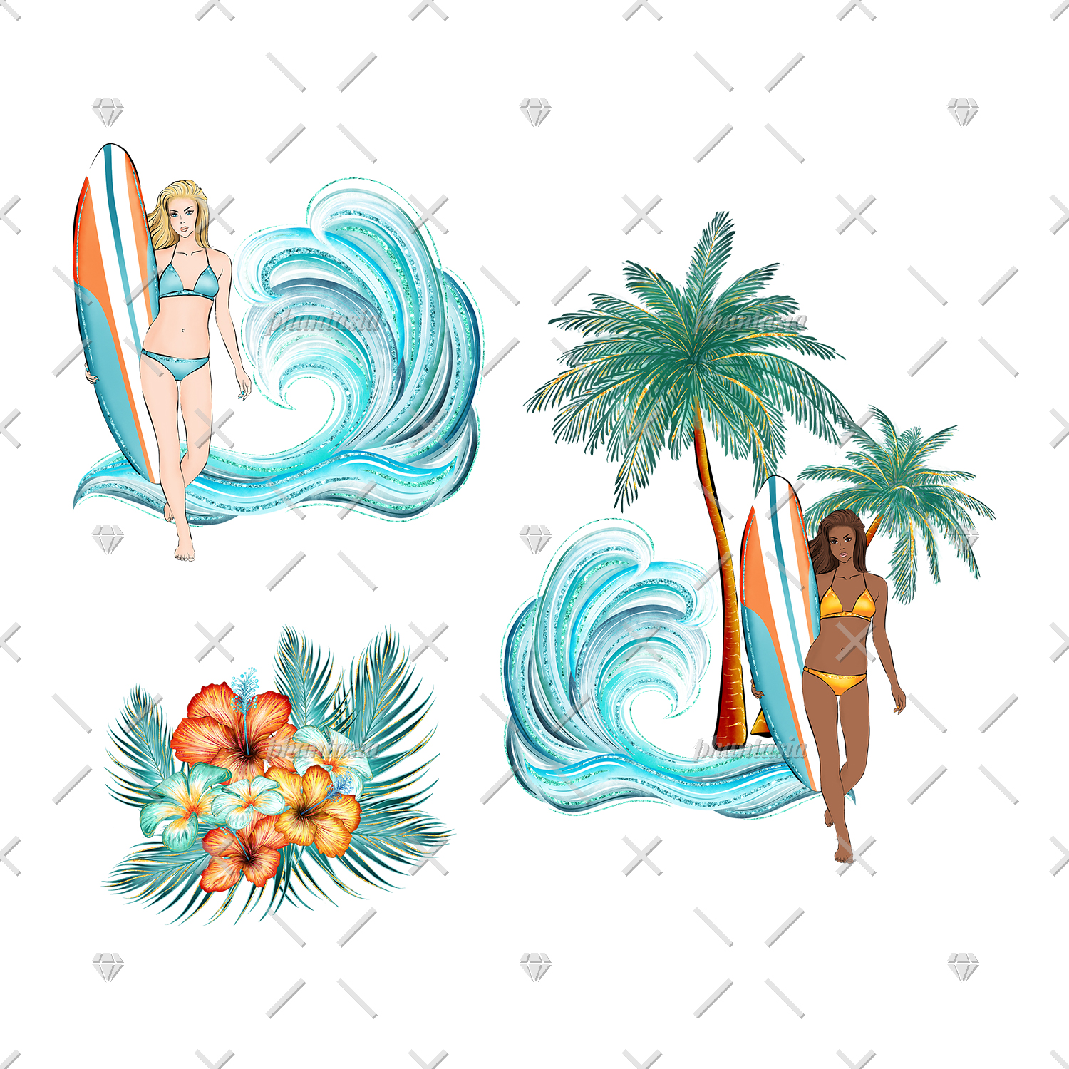 Surfer Girl Cliparts example image 4