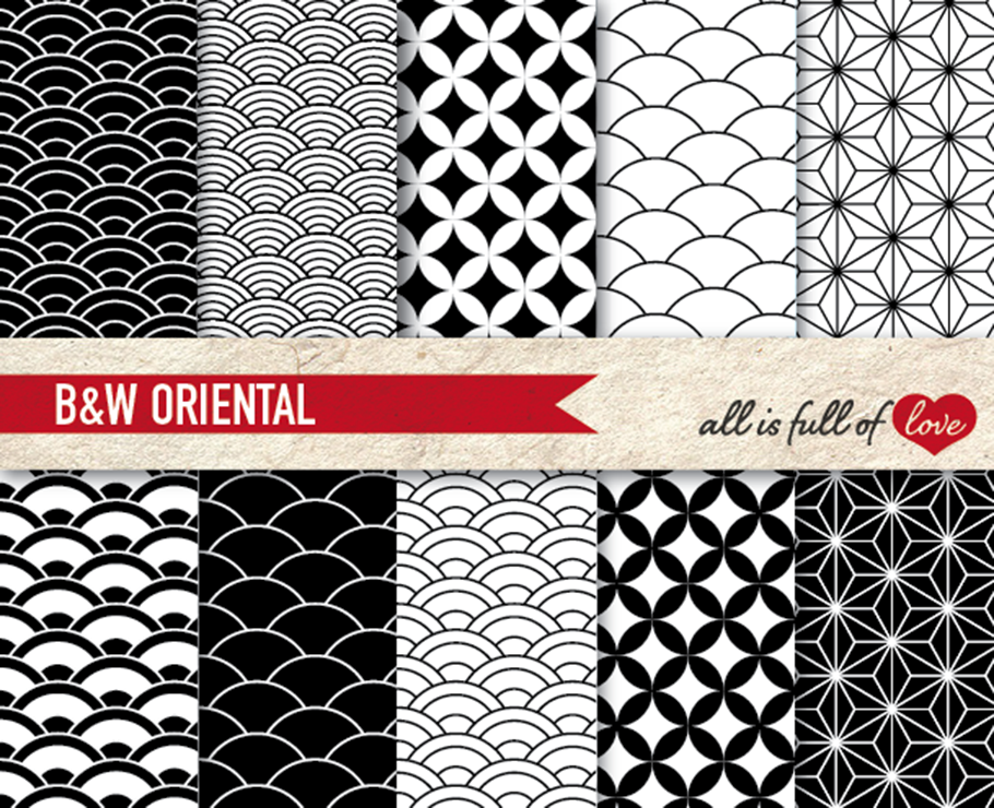 Japanese Graphics Oriental Background Patterns in Black and White example image 1