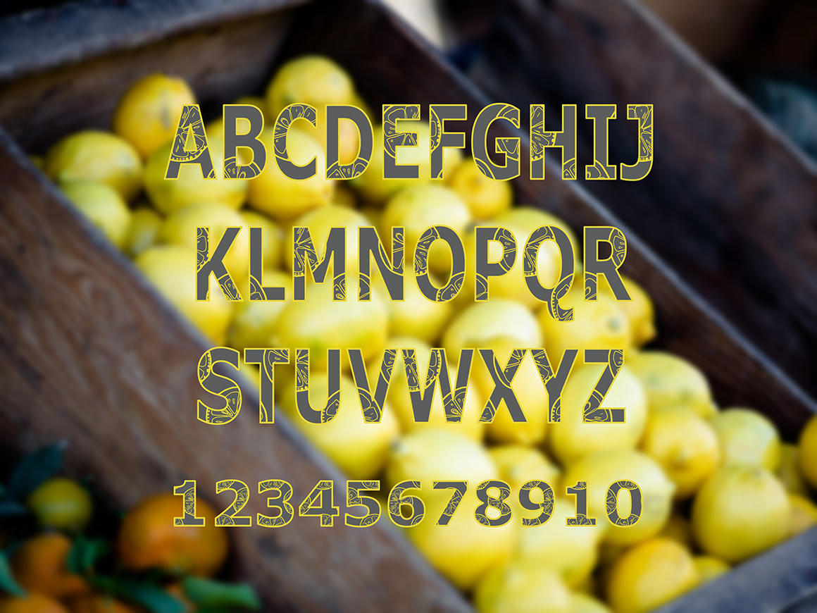 Lemons collection (158 vector and raster files) : 4 Patterns, 4 clipart Alphabets (144 png, 4 eps). example image 8