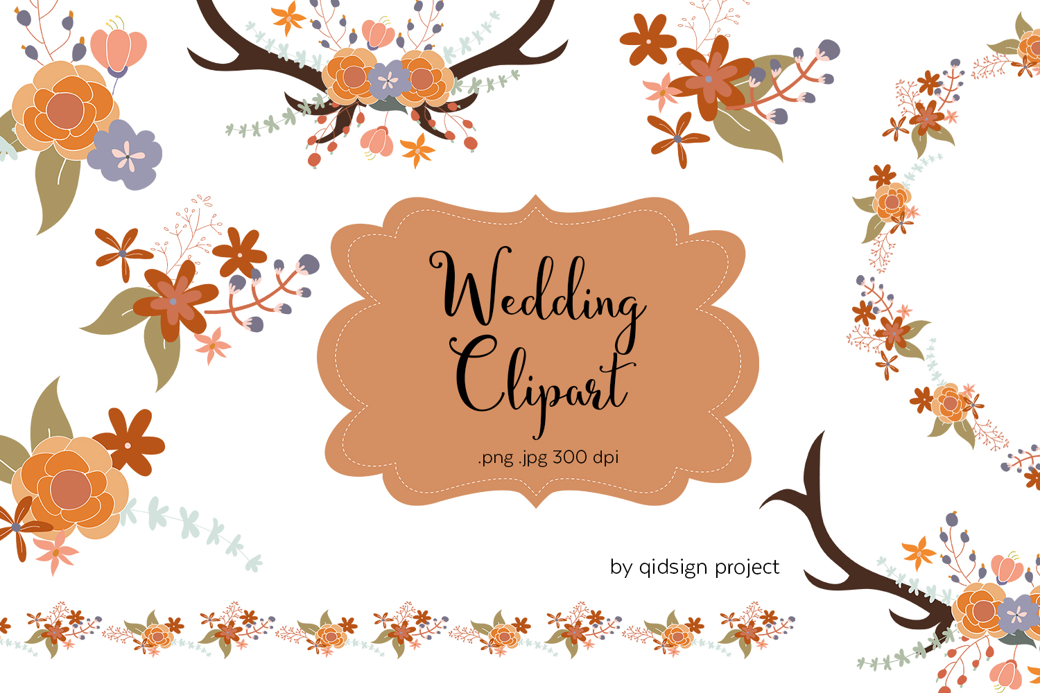 Floral And Antler Wedding Clipart Png Jpg