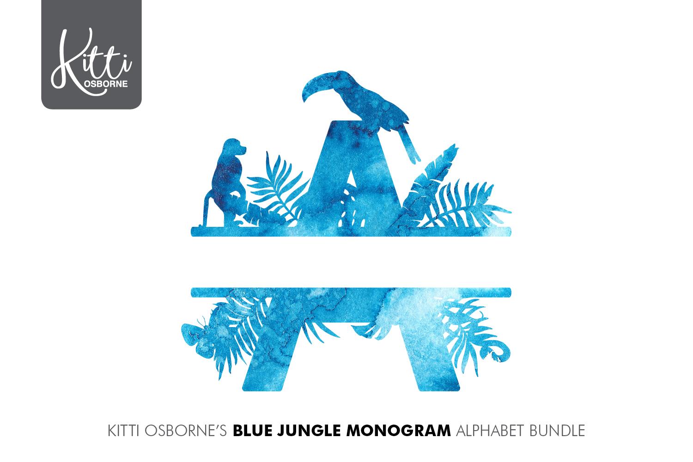 Blue Watercolour Jungle Alphabet Bundle example image 1