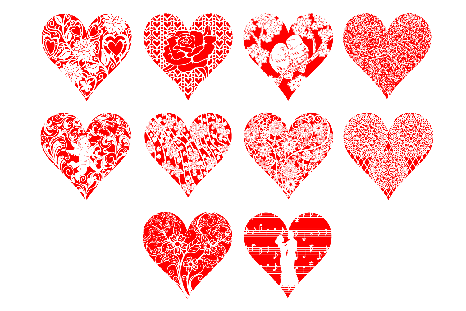 Ten Decorative Heart Cut Out Design 1 example image 2
