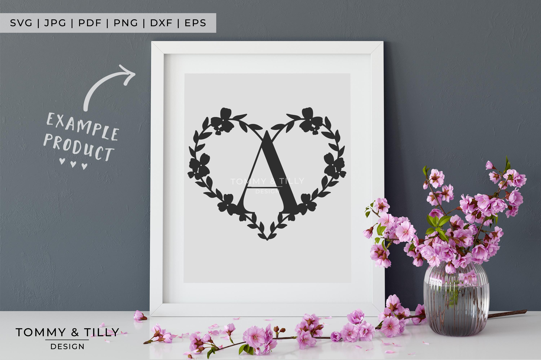 Heart A-Z Alphabet - Papercut SVG DXF PNG EPS JPG PDF example image 6