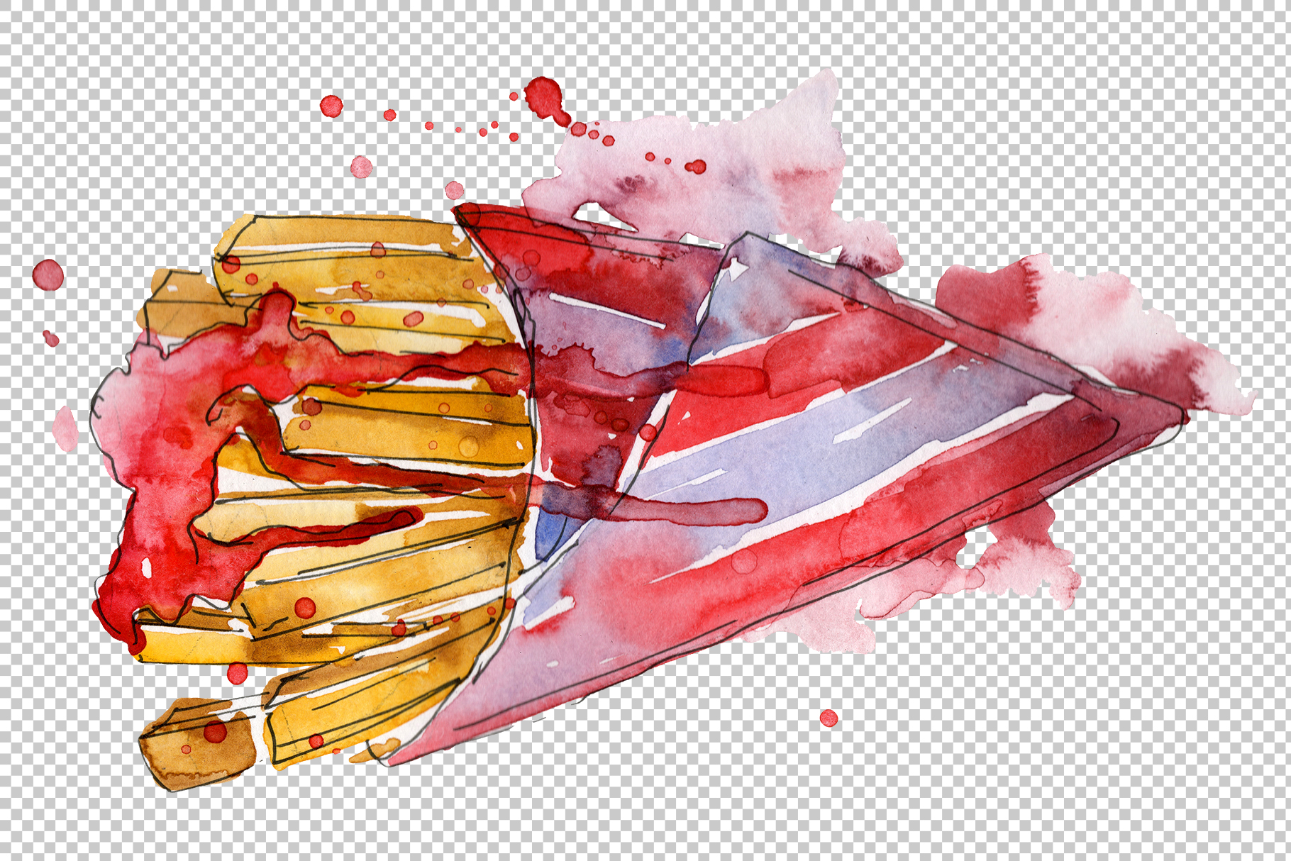 French fries Watercolor png example image 5