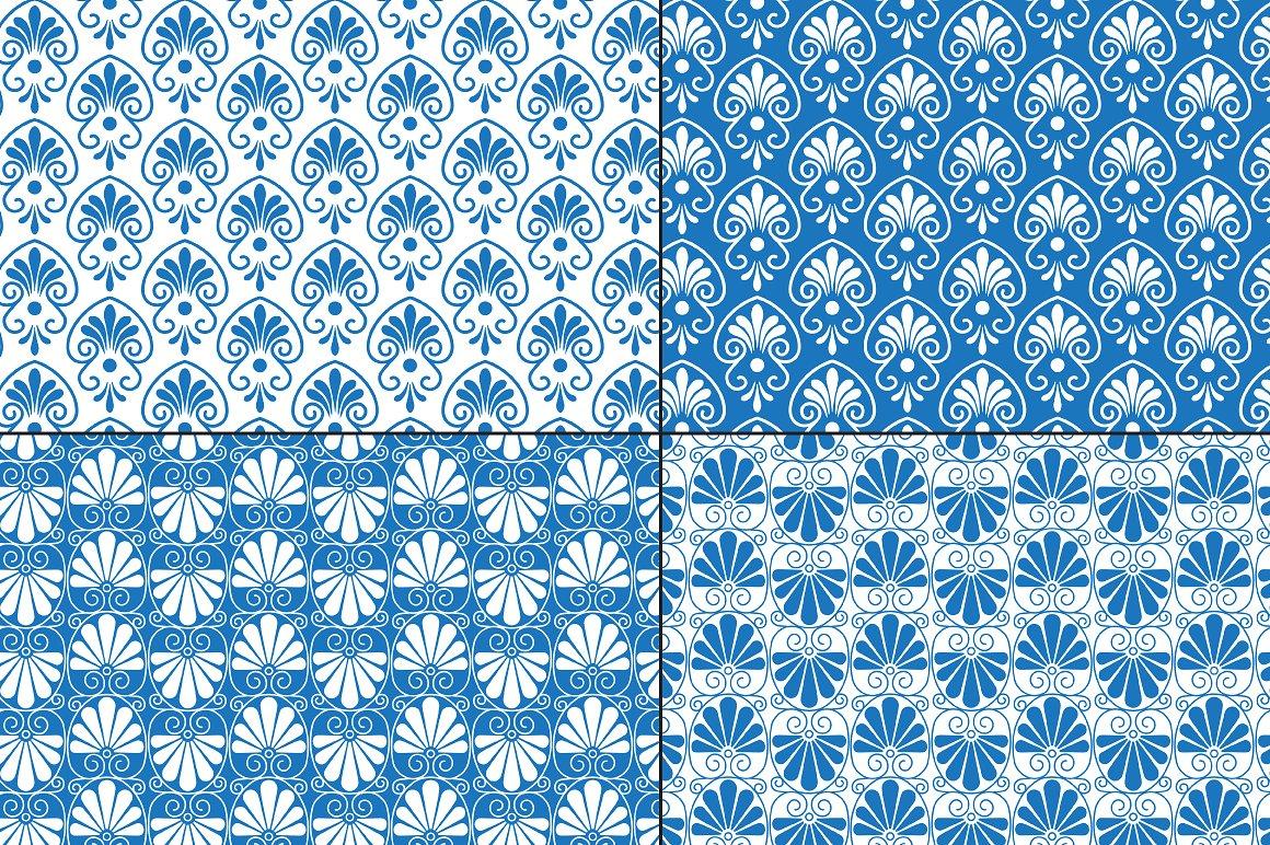 Blue White Greek Ornamental Patterns example image 2