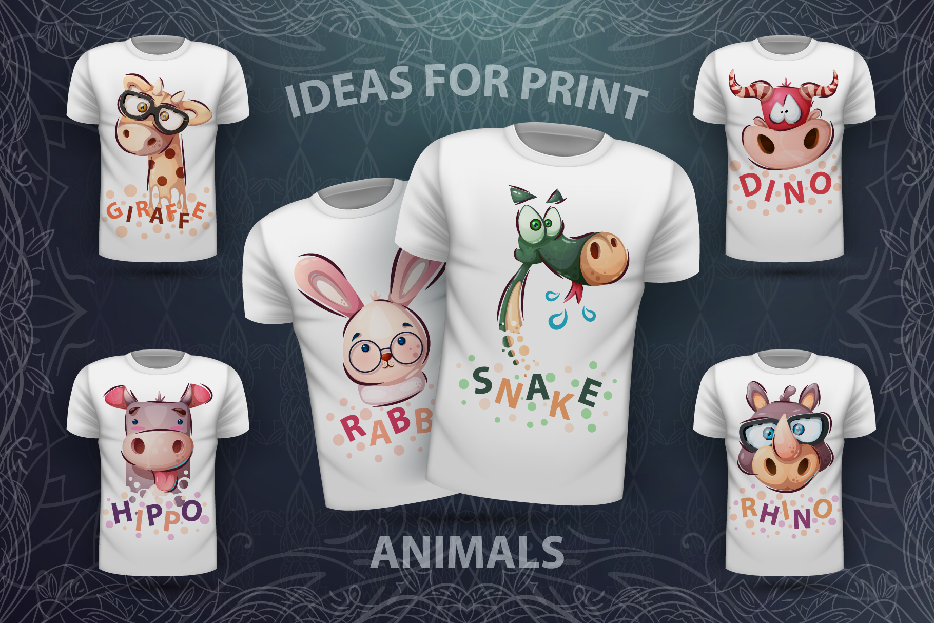 Set cute animal - for print t-shirt example image 1